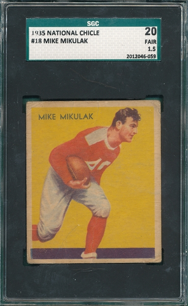 1935 National Chicle FB #18 Mike Mikulak SGC 20
