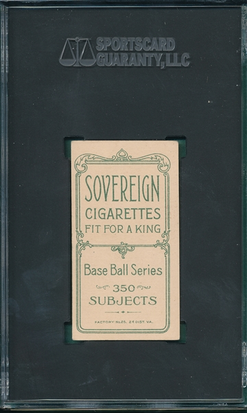 1909-1911 T206 Barry Sovereign Cigarettes SGC 4.5