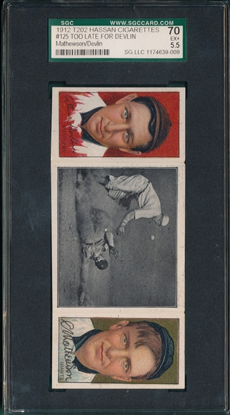 1912 T202 Too Late For Devlin, Devlin, Rustlers/Mathewson SGC 70