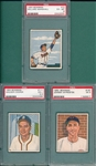 1950 Bowman #73 Marshall, *SP*, #111 Cooper and #197 Wyrostek, Lot of (3), PSA