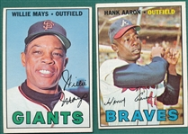 1967 Topps #200 Mays & #250 Aaron, Lot of (2)