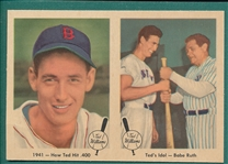 1959 Fleer Ted Williams Two Card Panel W/ Babe Ruth