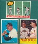 1959-63 Topps Lot of (3) Willie Mays W/ 1959 #464 Baseball Thrills