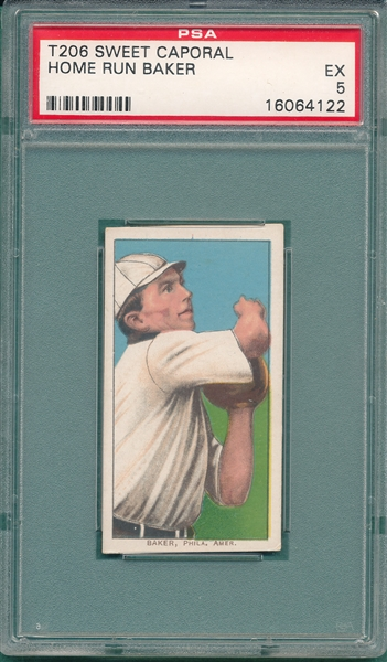 1909-1911 T206 Home Run Baker, Sweet Caporal Cigarettes PSA 5 *Rookie*