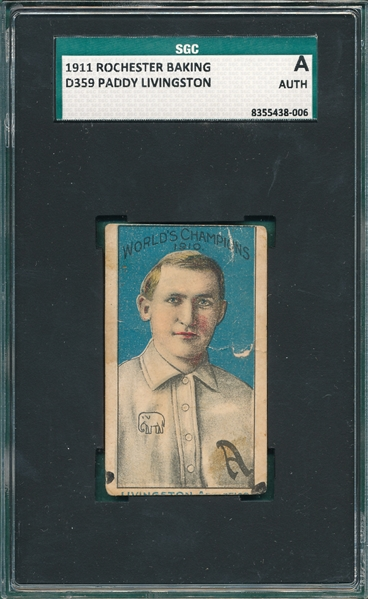 1911 D359 Paddy Livingston Rochester Baking SGC Authentic