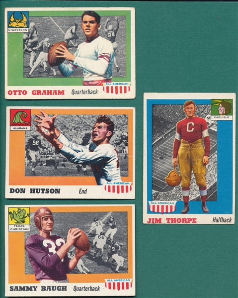 1955 Topps All American Baugh, Graham, Hutson & Thorpe, Lot of (4)