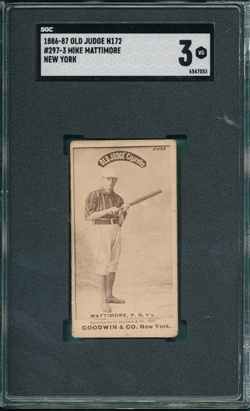 1887 N172 #297-3 Mike Mattimore SGC 3 *Clear Image*
