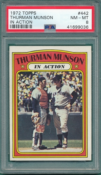 1972 Topps #442 Thurman Munson, In Action, PSA 8