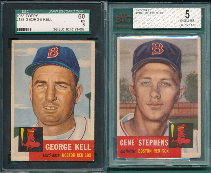 1953 Topps #138 Kell SGC 60 & #248 Stephens, Hi #, BVG 5, Lot of (2)