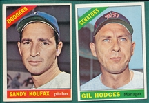1966 Topps Hodges & Koufax, Lot of (2)