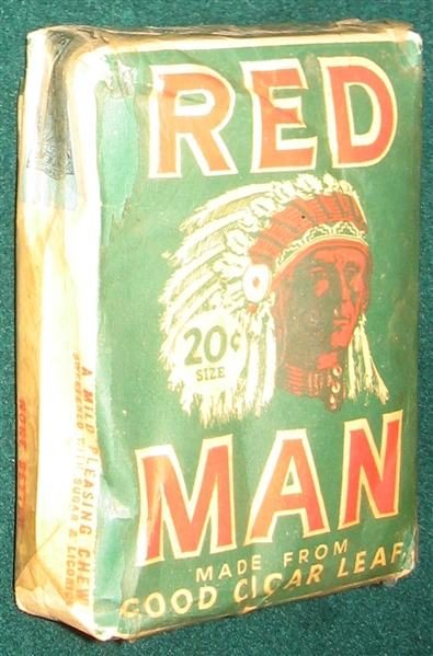 1953 Red Man Tobacco Unopened Pouch W/ Sauer Card