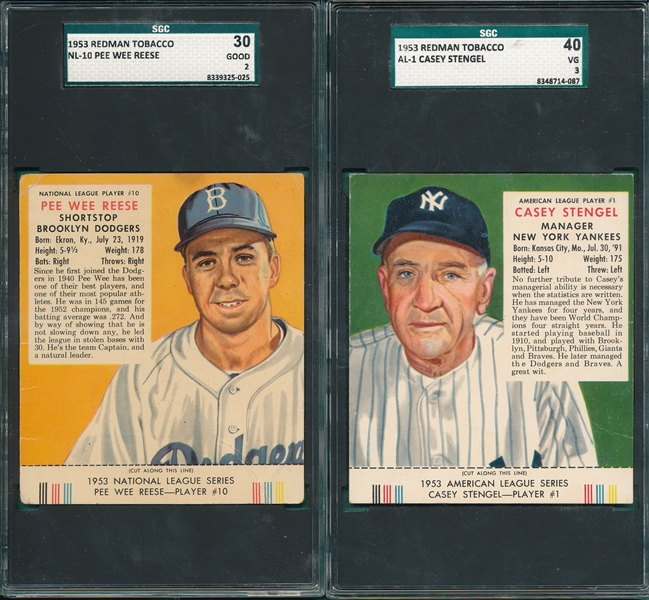 1953 Red Man Tobacco AL-1 Stengel & NL-10 Reese, Lot of (2) W/ Tabs, SGC