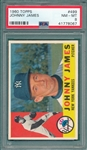 1960 Topps #499 Johnny James PSA 8
