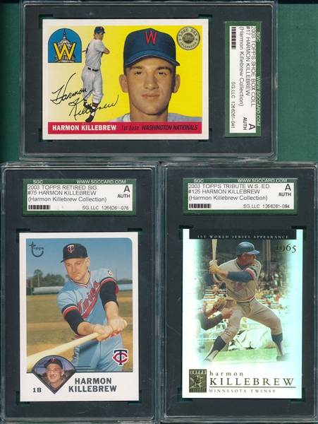 2003 Topps Harmon Killebrew Collection Lot of (3), SGC