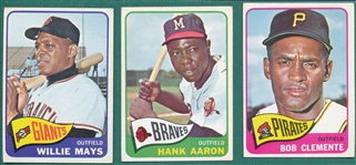 1965 Topps Lot of HOFers (3) W/ Mays, Clemente & Aaron