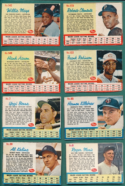 1962 Post Cereal Lot of (8) W/ Clemente, Mays & Aaron