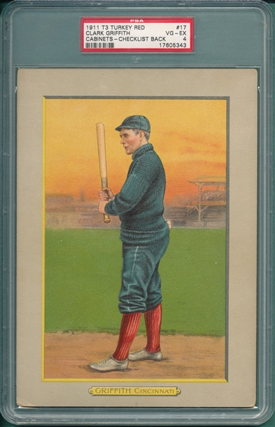 1910-11 T3 #17 Clark Griffith Turkey Red Cigarettes PSA 4