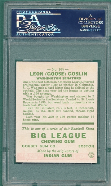 1933 Goudey #168 Goose Goslin PSA 6 *Great Colors*