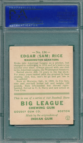 1933 Goudey #134 Sam Rice PSA 6 *Great Colors*