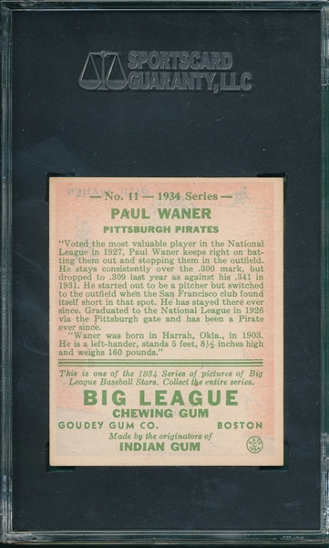 1934 Goudey #11 Paul Waner SGC 86 *Great Color*