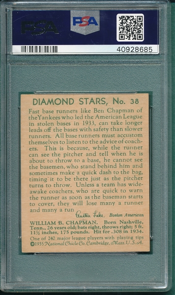 1934-36 Diamond Star #38 Ben Chapman PSA 7