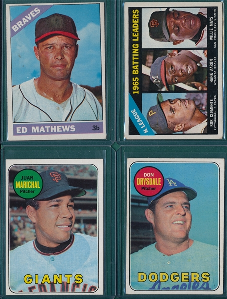 1966-69 Topps Lot of (12) HOFers W/ Clemente, Aaron & Mays
