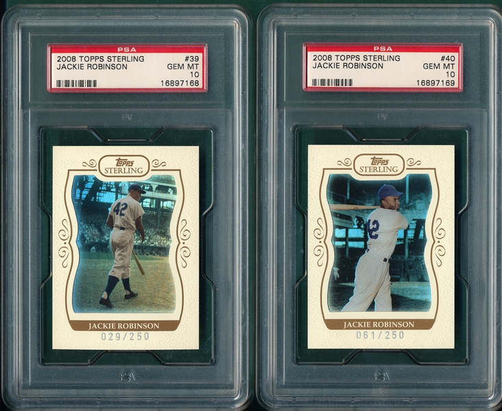 2008 Topps Sterling #39 & #40 Jackie Robinson, Lot of (2), PSA 10 *GEM MINT*