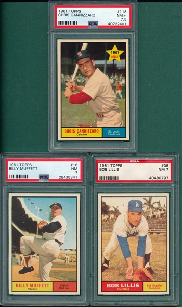 1961 Topps Lot of (5) W/ #118 Cannizzaro PSA 7.5