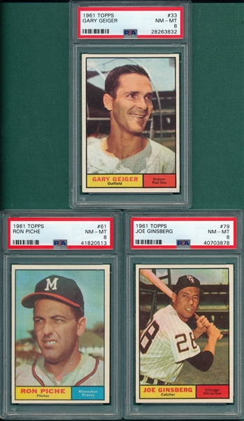 1961 Topps #Geiger, #61 Piche & #79 Ginsberg, Lot of (3), PSA 8