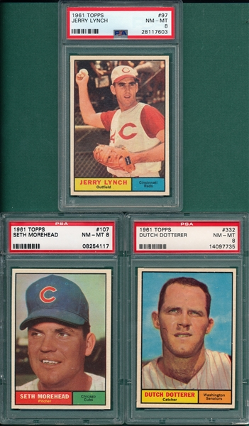 1961 Topps #97 Lynch, #107 Morehead & #332 Dotterrer, Lot of (3), PSA 8