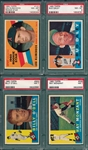 1960 Topps Lot of (4) W/ #8 Daley PSA 8