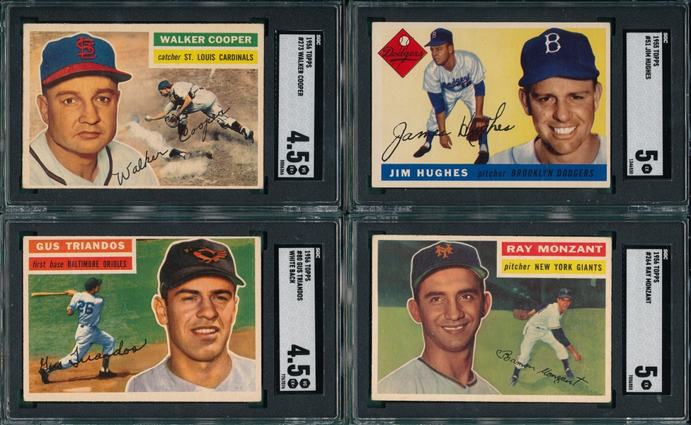 1955/56 Topps Lot of (4) W/ 1955 #51 Hughes SGC 5