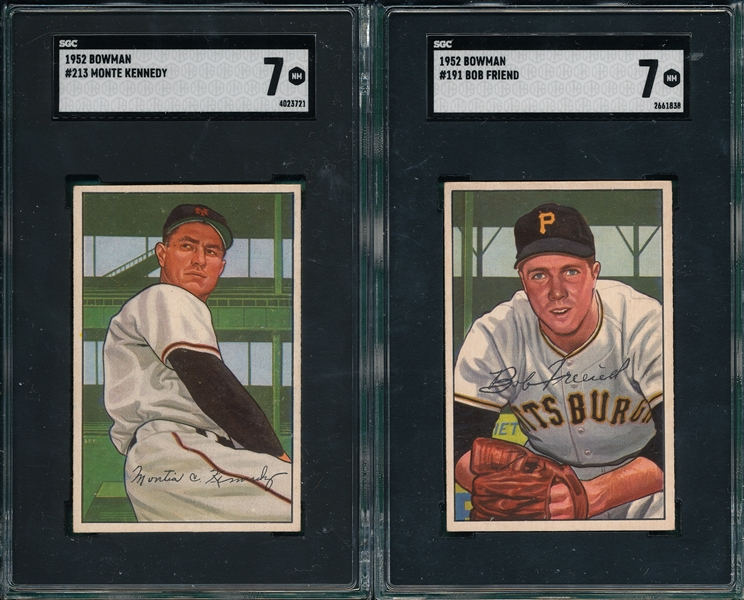 1952 Bowman #191 Friend & #213 Kennedy, Lot of (2), SGC 7