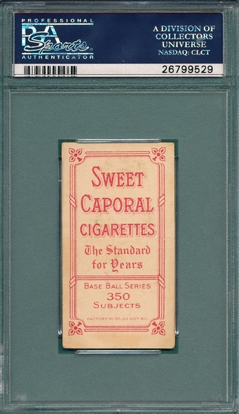 1909-1911 T206 Leach, Bending Over, Sweet Caporal Cigarettes, PSA 4