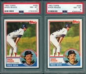 1983 Topps #498 Wade Boggs, Lot of (2), PSA 8 *Rookie*