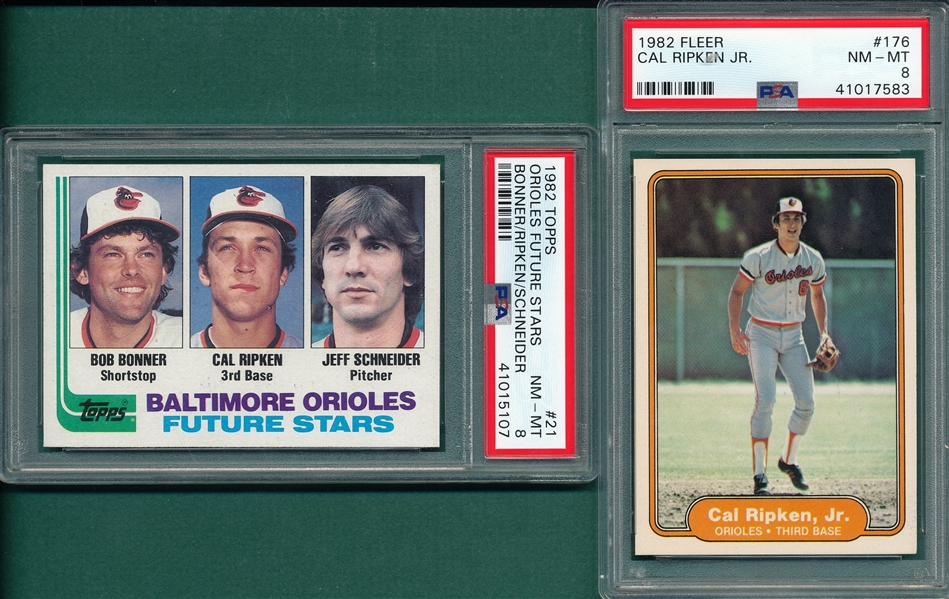 1982 Fleer & Topps, Cal Ripken Jr., Lot of (2), PSA 8 *Rookie*