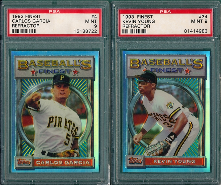 1993 Topps Finest #4 Garcia & #34 Young, Refractors, Lot of (2), PSA 9 *MINT*