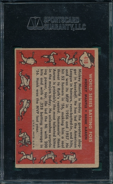 1958 Topps #418 World Series Batting Foes W/Aaron & Mantle, SGC 55