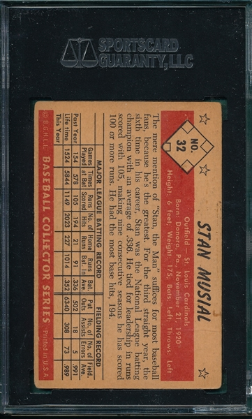 1953 Bowman Color #32 Stan Musial SGC 20 *Presents Much Better*
