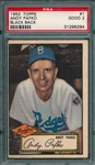 1952 Topps #1 Andy Pafko PSA 2 *Black Back*