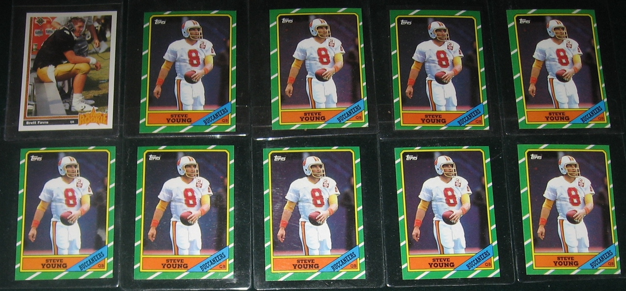 1986 Topps FB #374 Steve Young (10) & 1990 UD #13 Favre, Rookie, (2), Lot of (12)