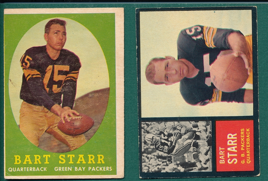 1958/62 Topps FB Bart Starr, Lot of (2)
