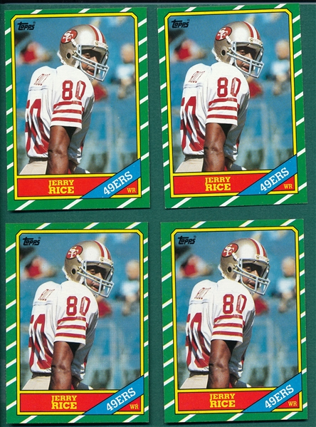 1986 Topps FB #161 Jerry Rice, Lot of (4), *Rookie*
