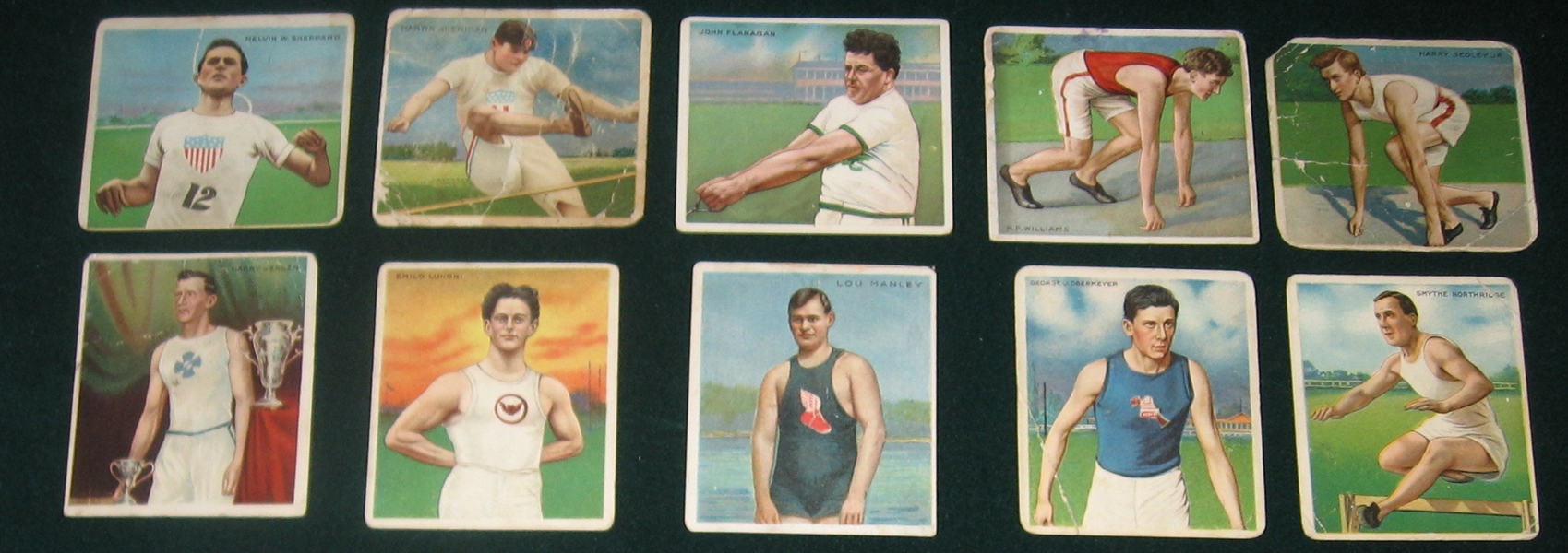 1910 T218 Champion Athlete & Prize Fighters, Hassan/Mecca Cigarettes, Lot of (10)