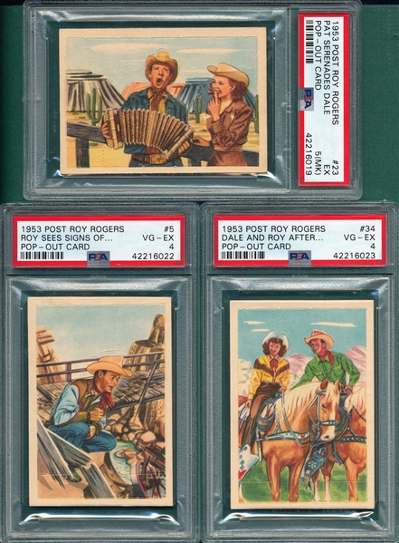 1953 Post Roy Rogers Lot of (3) PSA