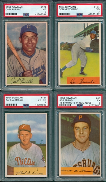 1954 Bowman Lot of (4) W/ #122 Furillo PSA