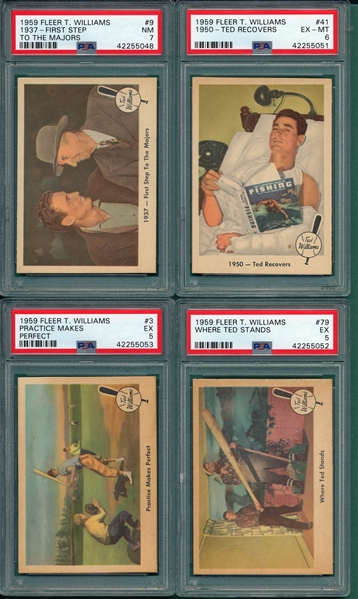 1959 Fleer Ted Williams Lot of (6) W/ #41 PSA 8