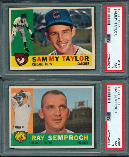 1960 Topps Lot of (5) W/ #162 Taylor PSA 7