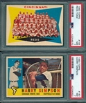 1960 Topps Lot of (6) W/ #164 Reds Team PSA 7