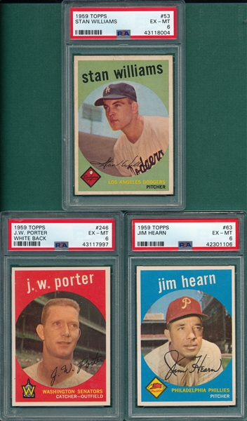 1959 Topps Lot of (5) W/ #292 Dick Williams PSA 6